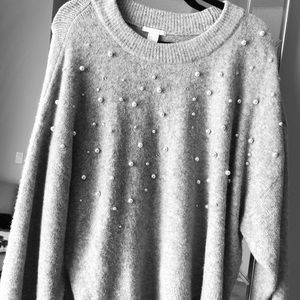 H&M gray pearl sweater